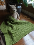 For this blanket I used up 4 skeins and knit with needle size 5mm