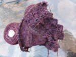 2nd shawl in a deep purple colour with 2 skeins
