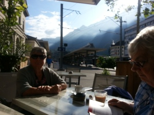 Chur by the train Station waiting for the Bernina Express to take us on....