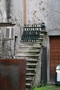 This home has at leased 30 bottles of wine just siting on the steps...so unique
