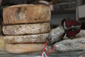 Dried meet and local cheese for sale in a small road side camper...Fantastic