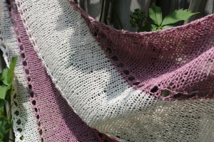 Hemp for Knitting hemp3LUX 1 skein = 1307.6 meters (1430.0 yards),  Colors used for  this shawl are: Pink,Purple and White