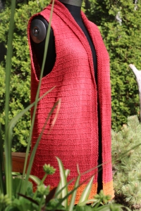 Another version one could knit is a Vest instead of the cardigan. You will only need 5 skeins of Hemp then.