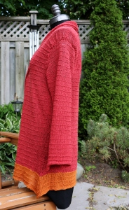 Both sides of the cardigan have the same point as the sleeves. So very fun and stylish for this summer